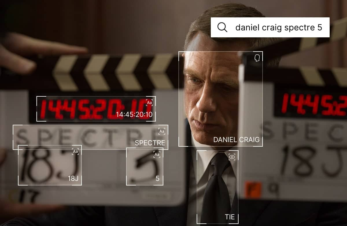 Daniel Craig framed by two clapperboards. His face, his tie, and text in the clapperboards are highlighted with bounding boxes
