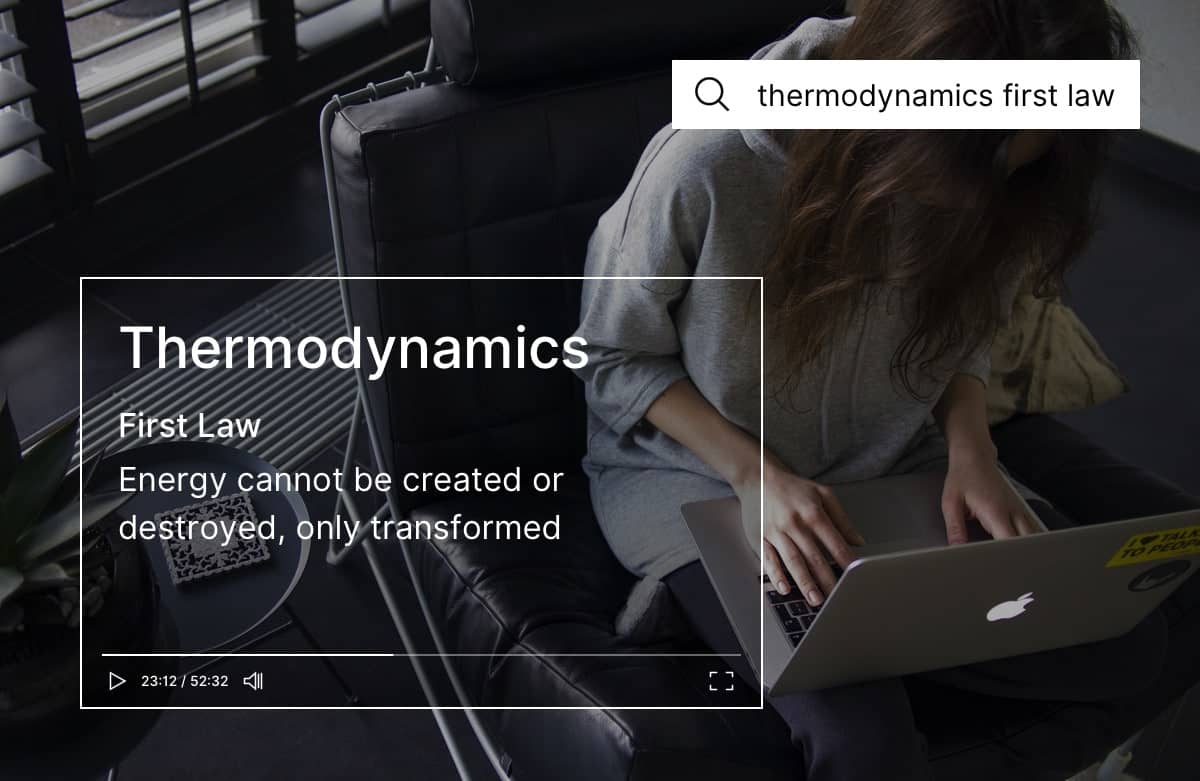 Woman sitting on a chair typing on a laptop. There is an overlayed illustration representing a slide of a video lecture about thermodynamics